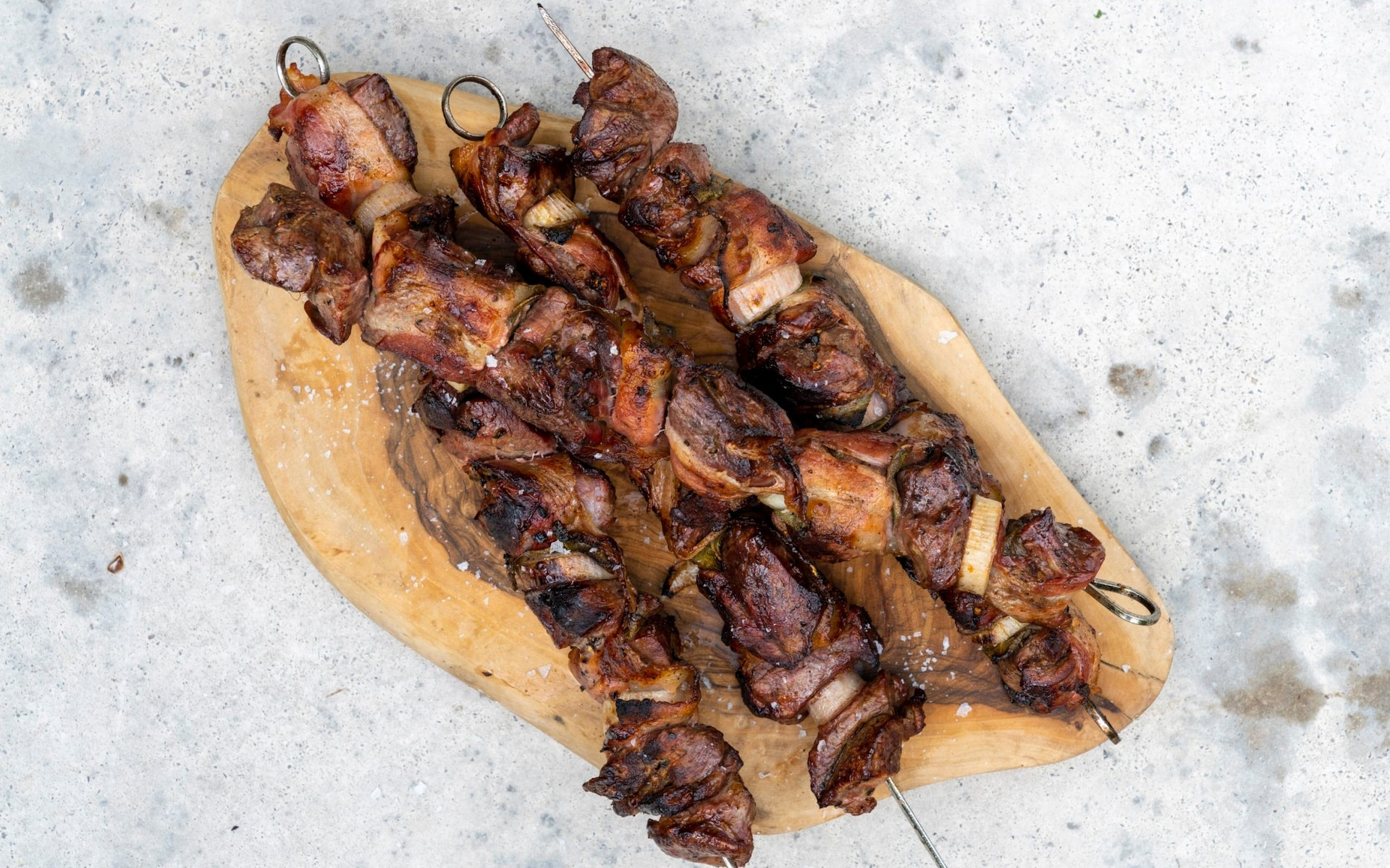 Venison, bacon and shallot kebabs recipe