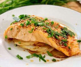 Cooking with Chef Bryan - Teriyaki Glazed Salmon on a Potato Bed